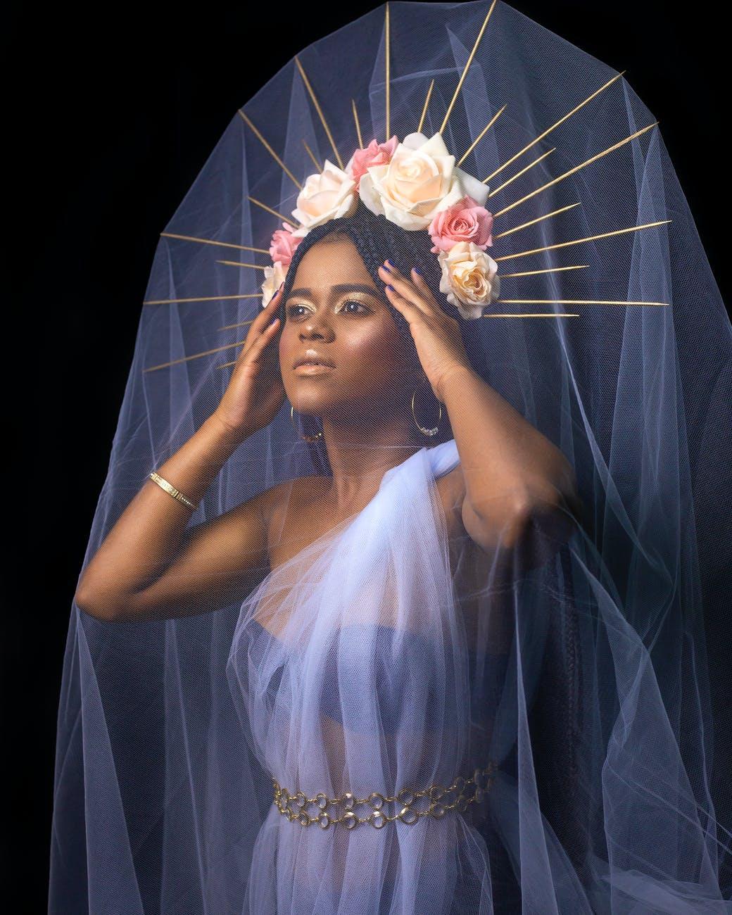 beautiful ethnic woman with translucent fabric